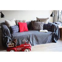 Comptoir Des Toiles - Housse de canapé bachette 3 places 100% coton à nouettes Ines - Gris anthracite