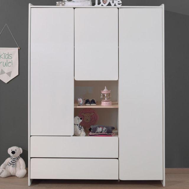 Nouvomeuble Armoire pour enfant 3 portes blanche Sanna