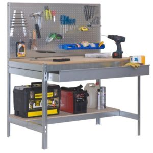 simon rack etabli avec tiroir et panneau mural 1440x1200x600mm bt 2 box 1200 galva bois. Black Bedroom Furniture Sets. Home Design Ideas