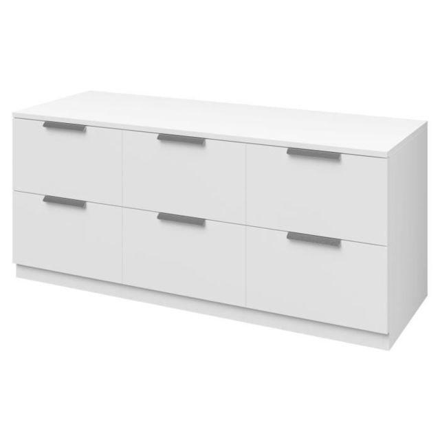 Commode De Chambre Billund Commode Style Contemporain Décor Blanc L 120 Cm