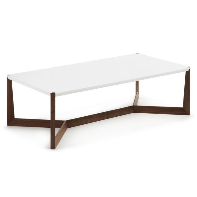 Kavehome Table basse Quatro, noyer et blanc