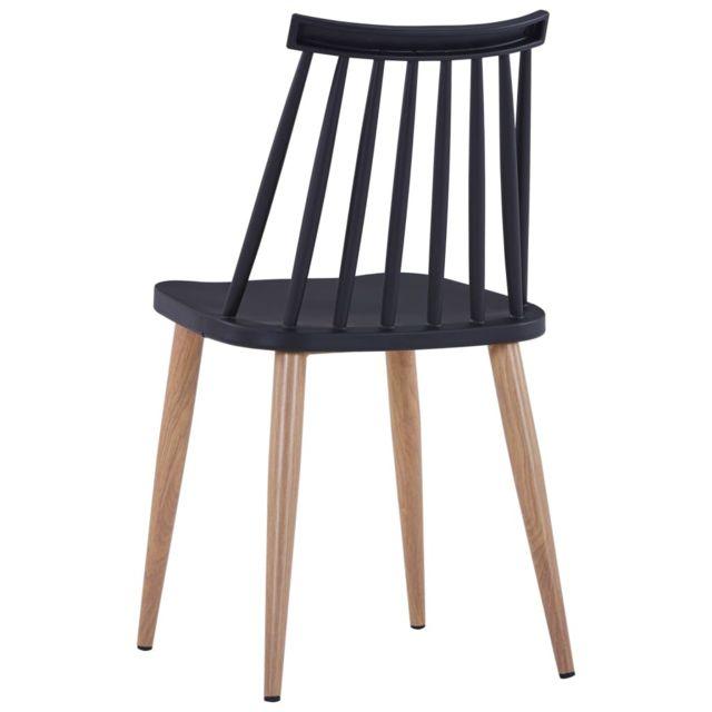 Chaises de salle à manger 4 pcs Noir Plastique et acier