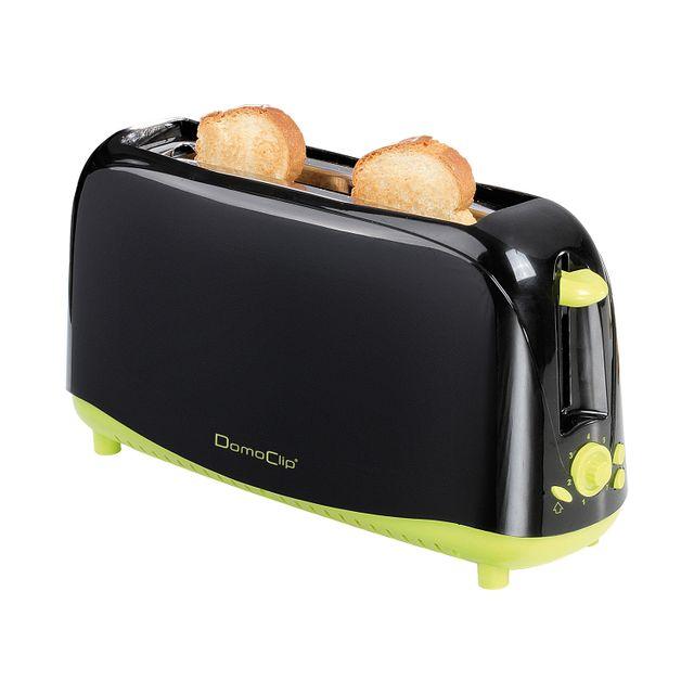 Domoclip Grille pain noir et vert à large fente 750W 7 positions Dod127N