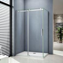 Marque Generique - Cabine de douche 120x90x195cm porte de douche  coulissante en verre anticalcaire avec une 4b7a90238f0