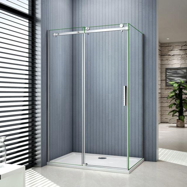 marque generique cabine de douche 140x80x195cm porte de douche coulissante en verre anticalcaire avec une - Porte De Douche Coulissante Pas Cher
