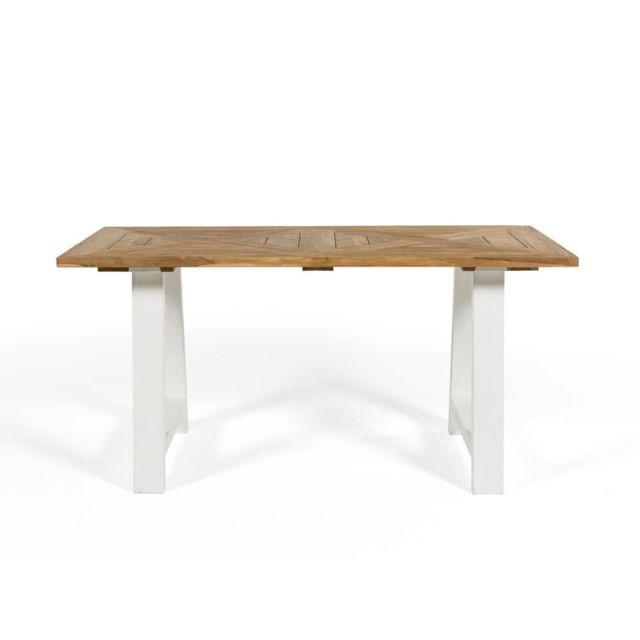 House Bay Table à manger en Teck recyclé avec pieds type tréteau L160 cm