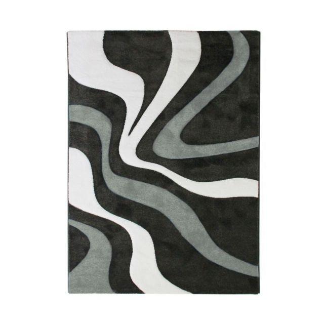 Mon Beau Tapis Ruby Vagues - Tapis à motifs vagues noir 200x290