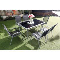Alassio 6 : Ensemble table + 6 chaises en aluminium et textilène