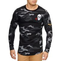 Violento - Pull col rond camouflage homme Pull léger 818 noir
