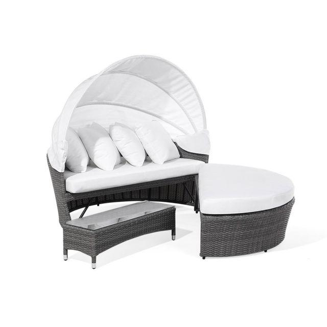 beliani lit de jardin en polyrotin gris avec capote rglable sylt lux - Lit De Jardin