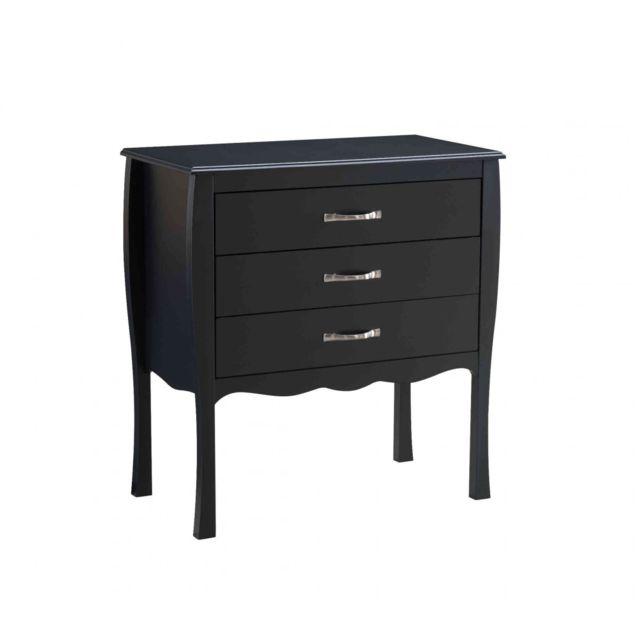 TERRE DE NUIT Commode 3 tiroirs en bois noir - CO4011