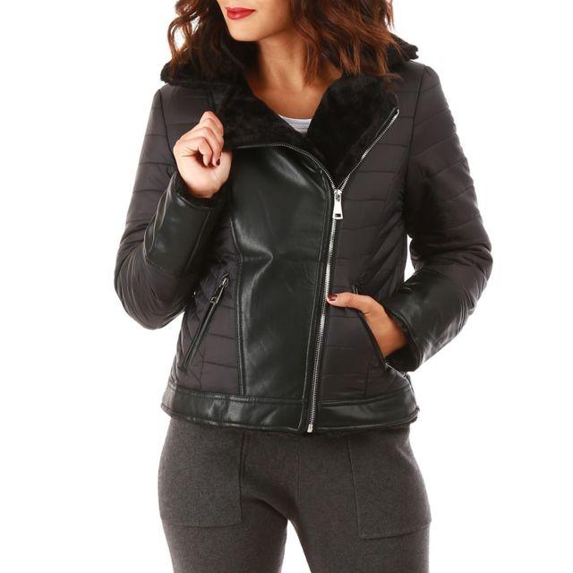 Lamodeuse - Manteau noir style perfecto réversible fausse fourrure ... 5808135137d