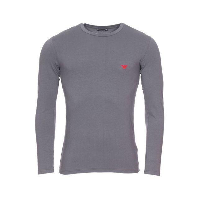 Armani Ea7 - Tee-shirt manches longues col rond Emporio Armani en coton  stretch gris 6b2b3fa9bff