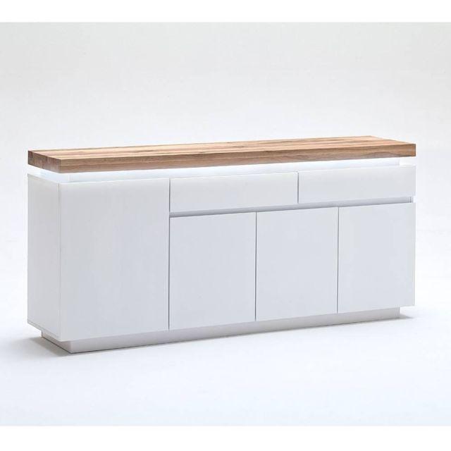 Inside 75 Buffet Romina 4 portes 2 tiroirs laqué blanc mat plateau chêne noueux huilé