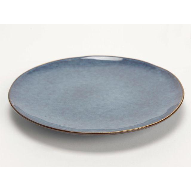Amadeus Assiette plate en grès D.26cm motif moucheté avec liseret patiné - Lot de 6 pièces Brume - Bleu