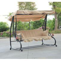HOMCOM - Balancelle convertible balancoire hamac de jardin en acier trois places 95