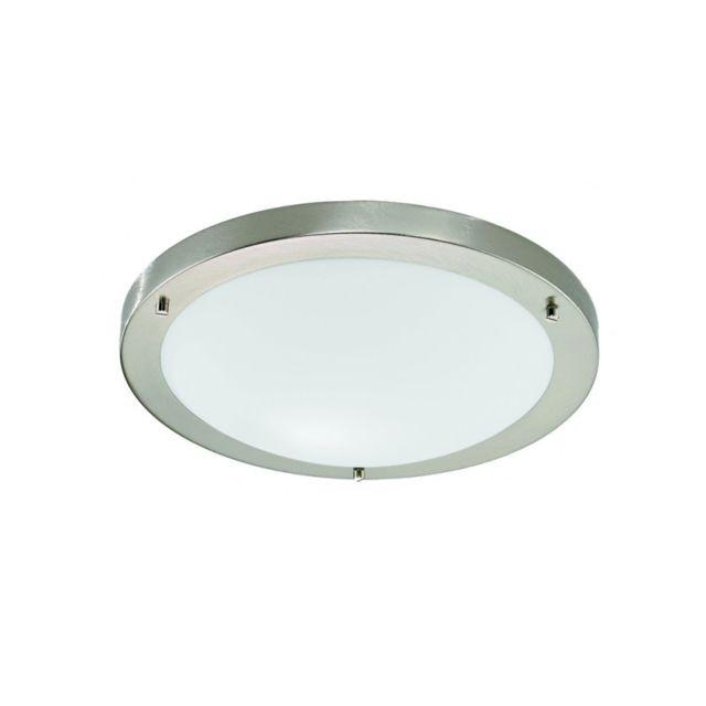 Plafonnier salle de bains nickel satiné 1 Ampoule