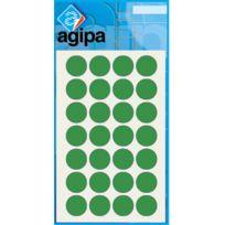 Agipa - 111841 - pastille adhésif diamètre 15 mm - vert - sachet de 168