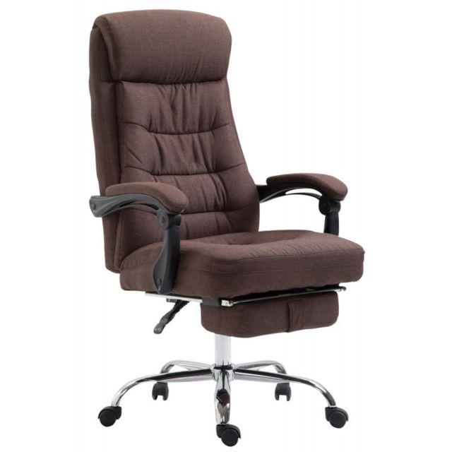 decoshop26 fauteuil de bureau ergonomique en tissu marron avec repose pied extensible bur10201. Black Bedroom Furniture Sets. Home Design Ideas