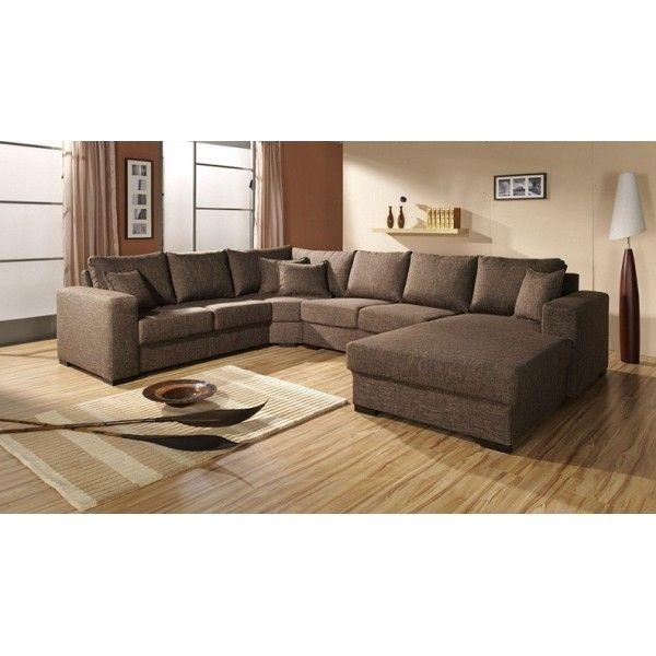 MEUBLESLINE Grand Canapé d'angle 6-7 places en U OARA en tissu