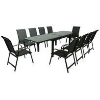 Salon de Jardin extensible 140/280 Porto 10 - Phoenix - Noir - 1 Table + 10  Fauteuils