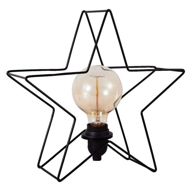 Exceptionnel Alinéa   Étoile Lum. Lampe à Poser En Métal Noir Forme étoile H24cm