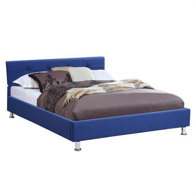 idimex lit double pour adulte nizza 140x190 cm 2 places 2 personnes avec sommier et pieds. Black Bedroom Furniture Sets. Home Design Ideas