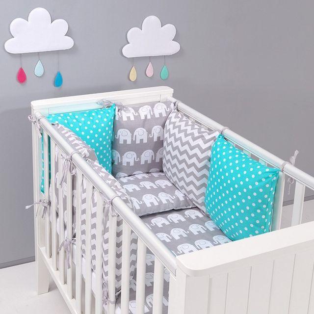 15fa62a7c1278 Sevira Kids - Tour de lit à coussins modulables avec parure réversible -  Eléphants - Gris