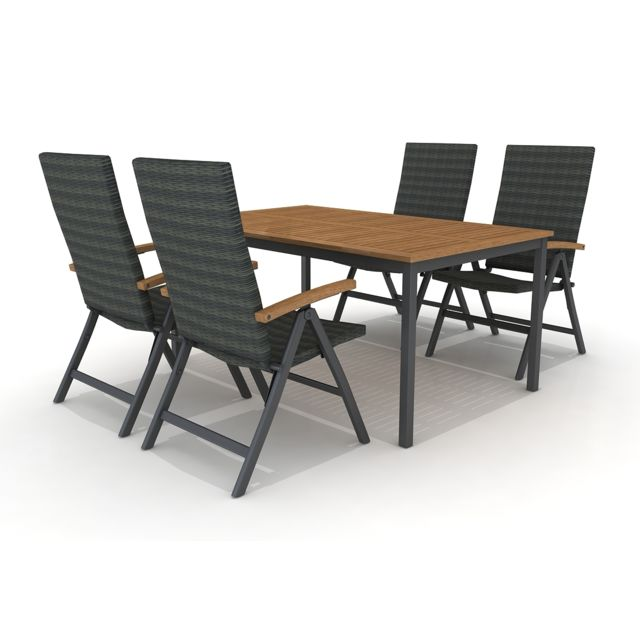 Set de table de jardin Blackbird en bois d\'eucalyptus Fsc et aluminium 160  x 100 x 74 cm et 4 chaises de jardin Dominica Fsc pieds en bois ...