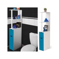 ProBache - Meuble Wc étagère bois gain de place pour toilette 2 portes bleues