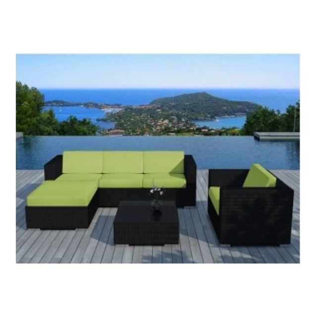 Declikdeco - Salon de jardin en résine tressée noir et vert Lagon ...