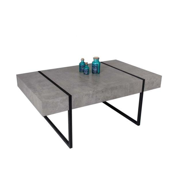 Capsull Design Table basse Oslo bois béton - Gris