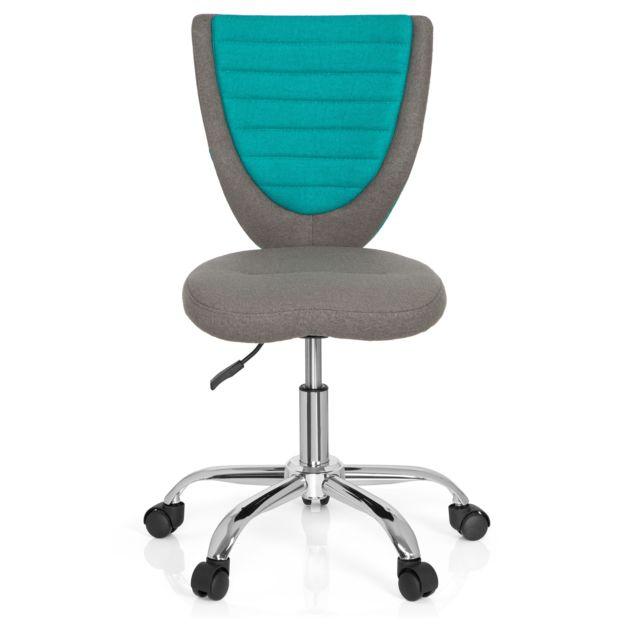 hjh office chaise de bureau enfant si ge de bureau enfant kiddy comfort tissu gris turquoise. Black Bedroom Furniture Sets. Home Design Ideas