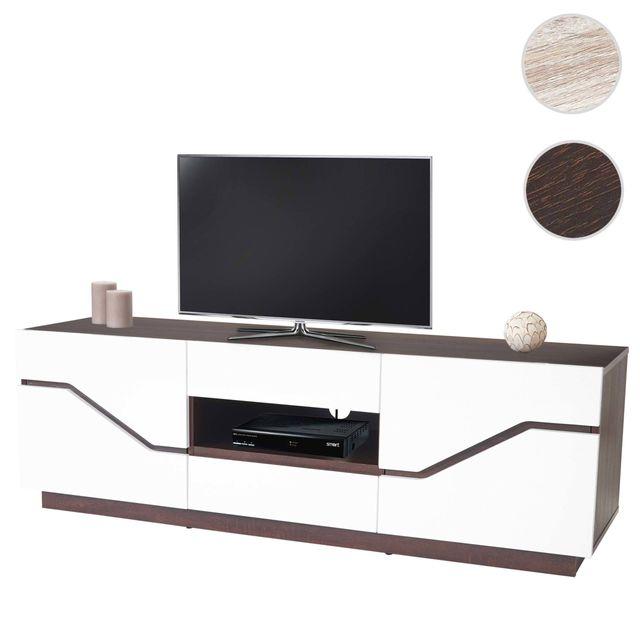 Mendler Table basse de télévision Torquay, rack Tv, structure 3D, poli fin, 149x49x42cm ~ aspect chêne foncé