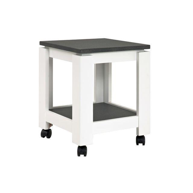 Marque Generique Table d'appoint sur roulettes 2 plateaux en bois décors granit H45cm Gramado