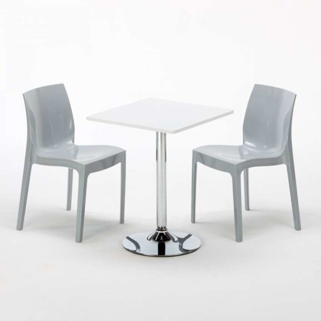 Grand Soleil Table Carrèe Blanc 2 Chaises Colorées Ice Gris
