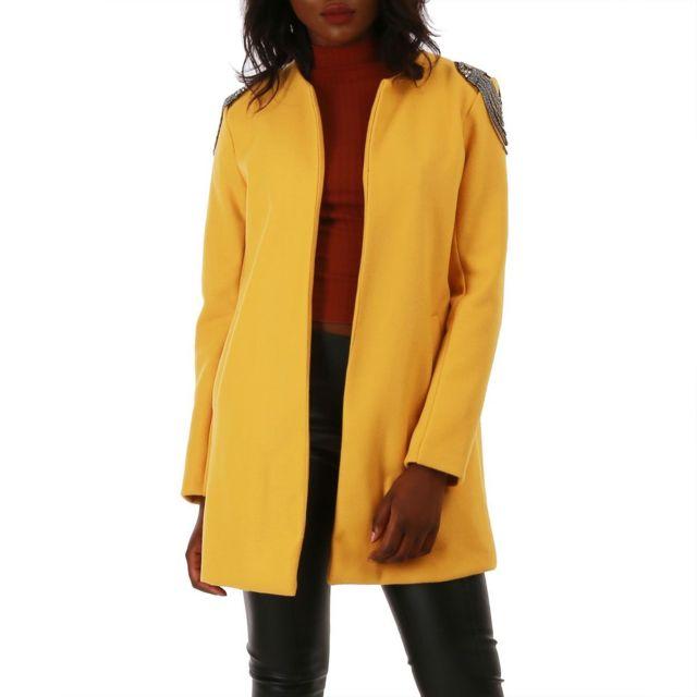 c82f69f8cf9e Lamodeuse - Manteau jaune à épaulettes bijoux - pas cher Achat ...