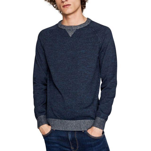 51dbb065007 Pepe Jeans - Pull Simon Bleu marine - pas cher Achat   Vente Pull homme -  RueDuCommerce