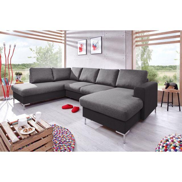 BOBOCHIC Canapé LILLY panoramique fixe bicolore gris / gris anthracite