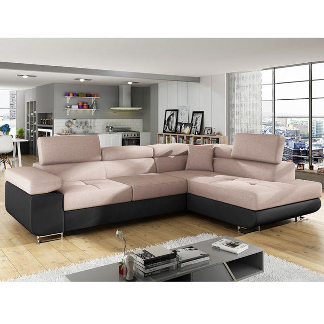 Canapé d'angle convertible en tissu rose poudré avec coffre de rangement WILLIS 6