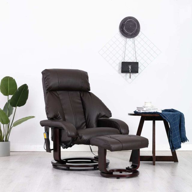 Vidaxl Fauteuil de Massage Tv Marron Similicuir Electrique Inclinable Salon