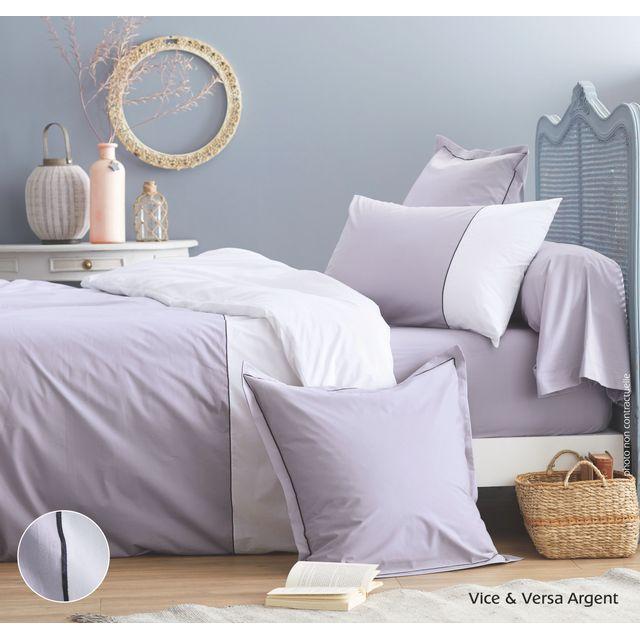 cotonflor housse de couette bicolore en percale de coton vice versa made in france argent. Black Bedroom Furniture Sets. Home Design Ideas