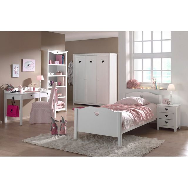 Comforium Ensemble 5 pièces pour chambre à coucher romantique 90x200 cm coloris blanc avec armoire 3 p, bureau et bibliothèque