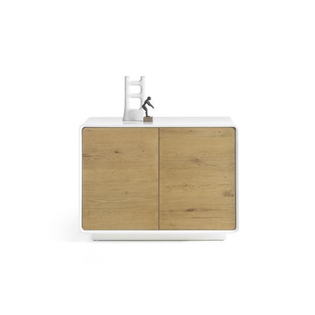 Pegane commode avec 2 portes coloris laqué blanc mat - L91 x H76 x P40 cm