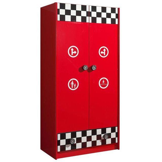 Comforium Armoire 90 cm à 2 portes et 1 tiroir en Mdf coloris rouge