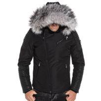 f7c92ea3e1 BLZJEANS - Blouson noir avec aspect cuir et à capuche fourrure grise
