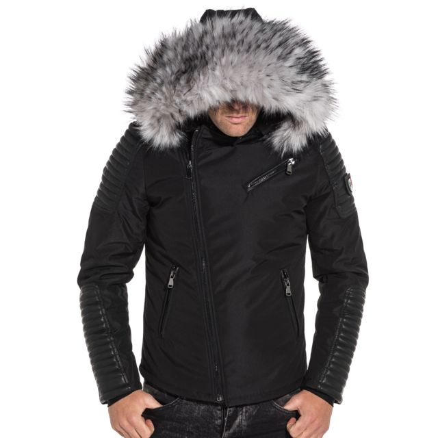 tout neuf 1cb79 2d323 Blouson noir avec aspect cuir et à capuche fourrure grise