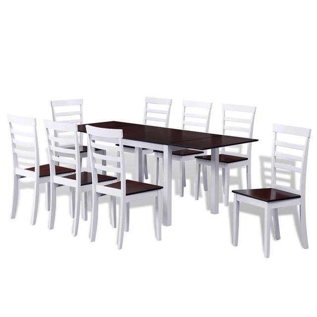 Vidaxl Set table extensible et 8 chaises marron/blanc en bois massif