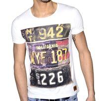 Stoneuk - En Solde - Stone Uk - T Shirt Manches Courtes - Homme - California 187 - Blanc