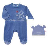 DISNEY - Ensemble pyjama et bonnet bébé MICKEY en velours